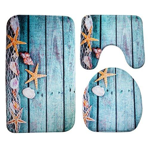 Badematten Set 3tlg, Asnlove 3er Badgarnitur Badezimmer Matte Set Dusch Bade Matte Vorleger Teppich 3D Muster für Wohnzimmer, Schlafzimmer, Schwimmbad Toilet - Starfish Blau