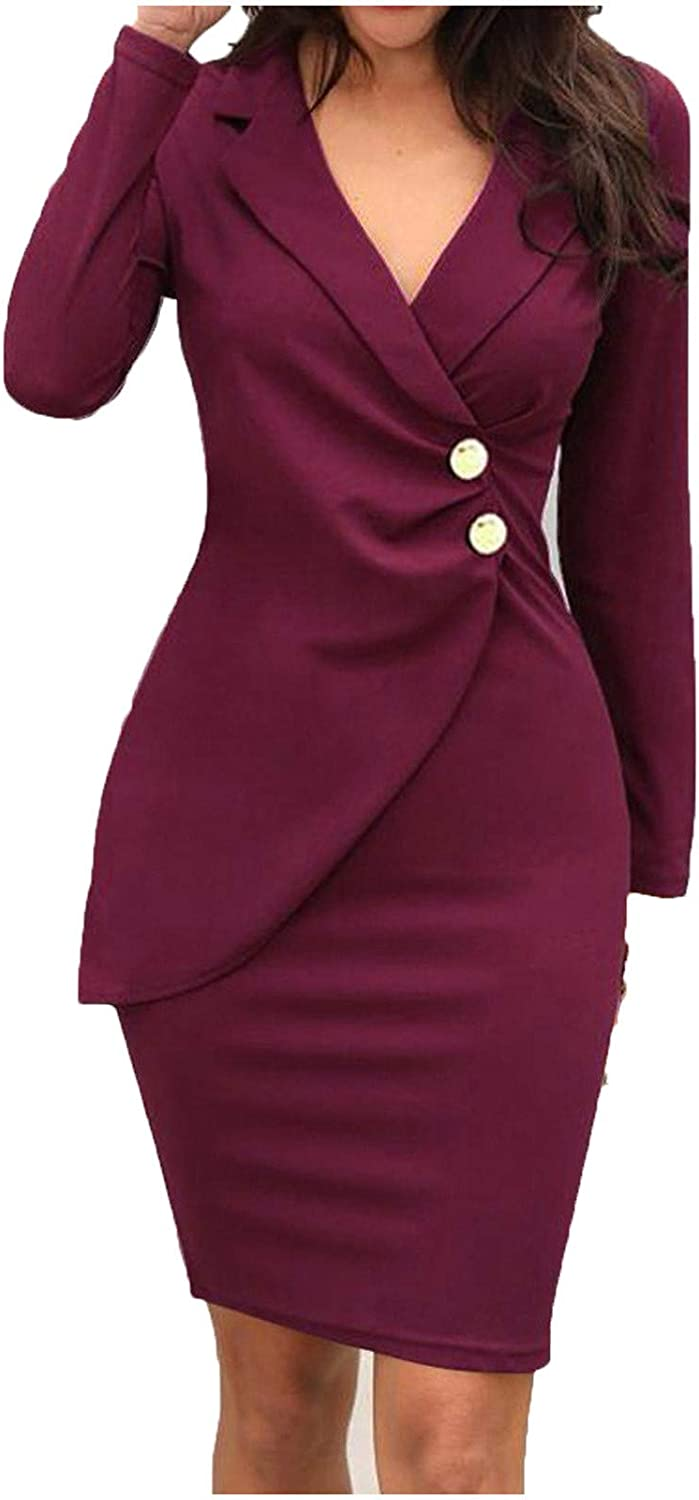 Office Ladies Button Wrap Hip Casual Work Dress Set Solid Turn Down Neck Long Sleeve Buttons Casual Work Formal Dress
