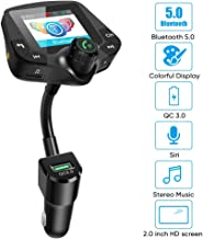 Bluetooth Fm Transmitter for car, 5.0 Bluetooth Hands-Free Calling Crystal Sound 2.0 inch Multicolor Screen Wireless Radio Adapter,3 USB Ports Charger QC3.0/3.4A AUX TF Card U-Disk Music Player