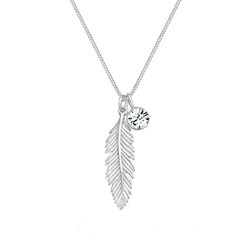 Elli Women 925 Sterling Silver Xilion Cut Crystal Necklace with Feather  Pendant c3e946eeb1a2