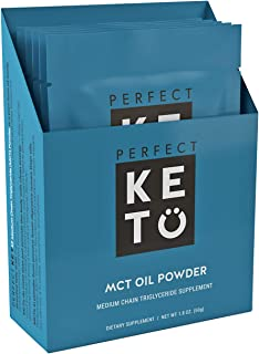 Perfect Keto [5 Pack] MCT Oil Powder: Ketosis Supplement for Ketone Energy   Paleo Natural Non Dairy Ketogenic Keto Coffee Creamer (Unflavored)