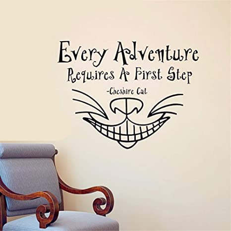 Amazon Com Alice In Wonderland Wall Sticker Every Adventure Cheshire Cat Quote Wall Decals Diy Home Decor Many Colors Wall Decoration Home Kitchen