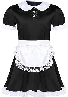 Men's Sissy French Maid Satin Frilly Crossdrssing Dress Costume Apron Set