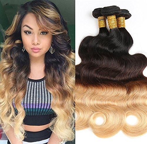 CHUANMEI 8A Peruanisch Virgin Echthaar Tressen Körper Welle Mensch Haar Weben Ombre DREI Ton Blond Haarverlängerung 1 Bündeln 100g 1b/4/27, 16