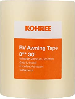 Kohree RV Awning Repair Tape Clear, 3 Inches x 30 Foot, Waterproof Rips Repair Tape Tent Patch Tape for Awning, Camper, RV punctures, Boat Sails, Canopy, Greenhouse.