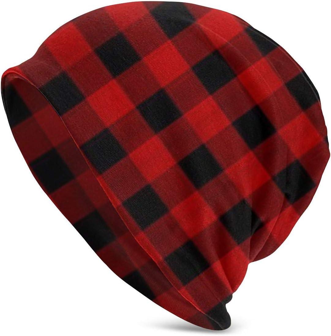 antkondnm Custom Rustic Red Black Buffalo Check Plaid Pattern Fashion Disturbed Adult Men's Knit Hat Hedging Head Hat Top Level Beanie Cap