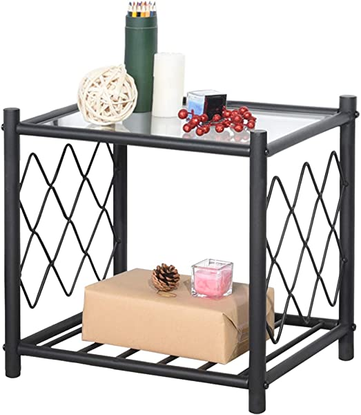 WeeHom Glass End Table With Net Design Black Metal Frame Side Accent Coffee Table Book Storage Shelf Modern Bedroom Living Room Decorative