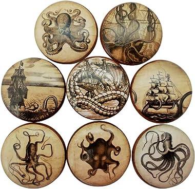 Set of 8 Old World Nautical Wood Cabinet Knobs (Set 2)