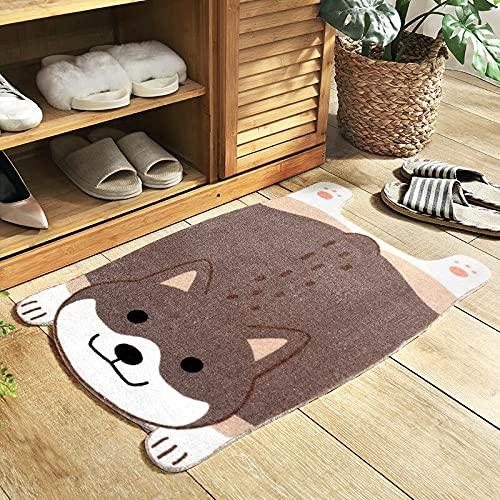 Felpudo de dibujos animados con diseño de perro Corgi Shiba Inu Akita impreso antideslizante absorción de agua dormitorio cocina alfombra de piso (Shiba Inu, 45 cm x 75 cm)