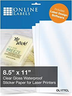 Waterproof Clear Gloss Sticker Paper, 8.5 x 11 Full Sheet Label, 100 Sheets, for Laser Printers Only, Online Labels