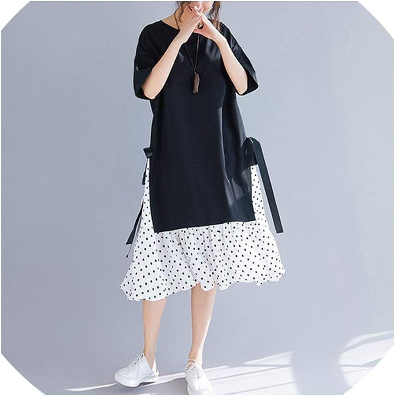 Plus Size Women Dress Sundress Print Dot Cotton Female Spliced Black Loose Beach Dress