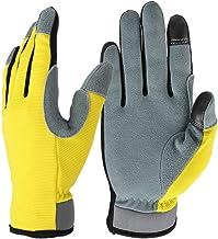 Luvas utilitárias leves flexíveis da Vosarea com palma de couro genuíno e tela sensível ao toque luvas respiráveis para tr...