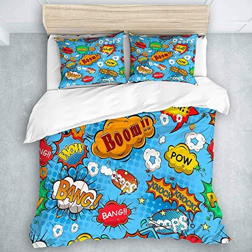 3-teiliges Bettbezug-Set, Superheld Bunte Comic-Stil-Symbole Effekte Boom Scream Magazine Signs Pop Art Illustarion, Bettbezug-Set