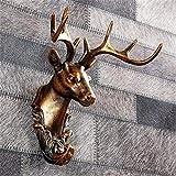 Nuokix Decoración Estatua de la Escultura estatuilla figurilla, Gancho de Pared de Bronce Cabeza de Animal 3D Escultura simulación Principal de los Ciervos de Resina Artesanal artesanía Display Stand
