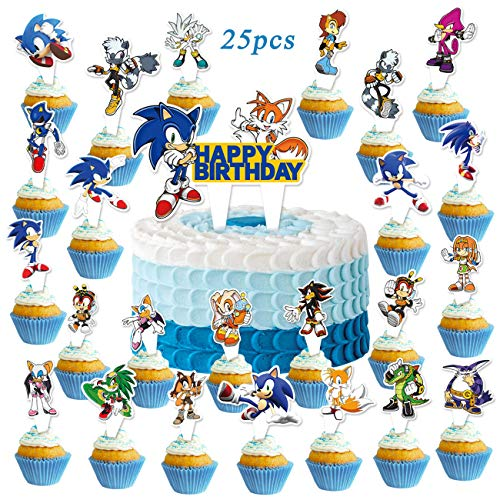 25PCS Soni_c Cupcake Toppers Hedgehog Cake Toppers for Kids Birthday Party Supplies
