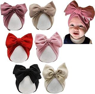 قبعة عمامة بفيونكة كبيرة، قبعة صغيرة على شكل قوس كبيرة الحجم، غطاء رأس معقود للرضع والبنات والأطفال الصغار