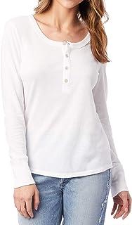 Alternative Womens White US Size Medium M Scoop Neck Henley Knit Top