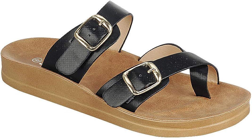 Women's Slide Sandal Thong Slip On Flip Flop Toe Loop Cork Buckle Faux Leather Beach Casual Platform Flat Shoes GR200