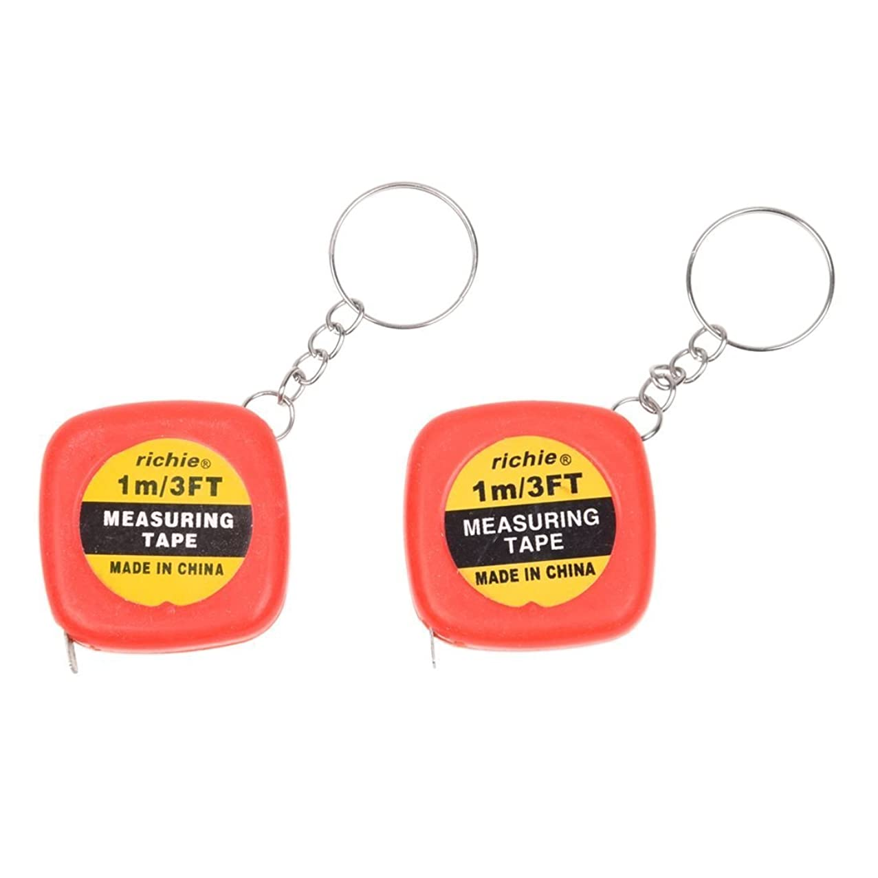 SODIAL(R) 2 Pcs Multifunction Red Case 1 Meter 3 Feet Mini Tape Measure w Key Ring