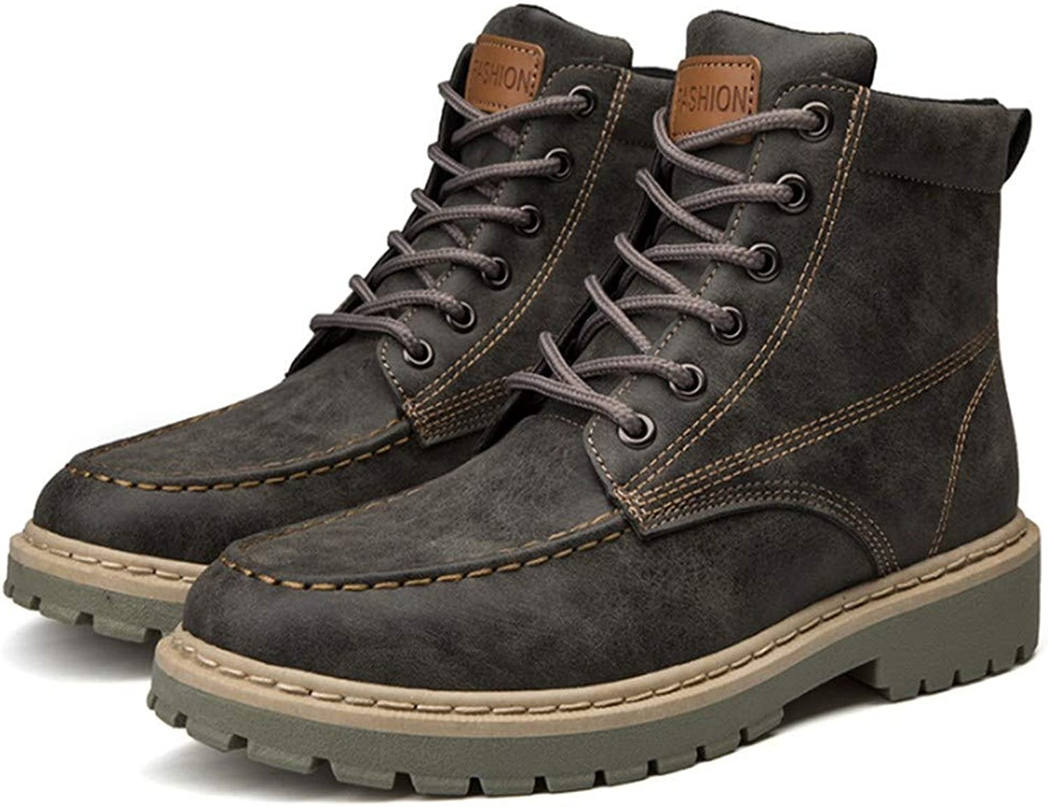 FMWLST Boots PU Men'S Boots Autumn And Winter Casual Ankle Boots Lace-Up shoes Men'S Non-Slip shoes