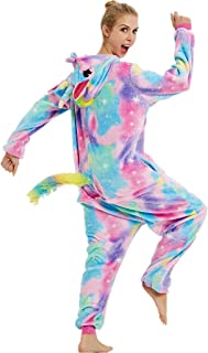 iSZEYU Unicorn Onesies for Women Adult Onsie Pajamas Sleeper Halloween Costumes