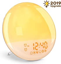 YISSVIC Wake Up Light Alarm Clock Sunrise Simulation Alarm Clock Radio and Sunset Fading Light Dual Alarm Clocks/7 Colors/FM Radio/Snooze Function