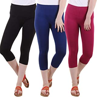 Rooliums Cotton Lycra Women's Capri Leggings Combo (Brand Factory Outlet) Pack of 3 - FREE SIZE