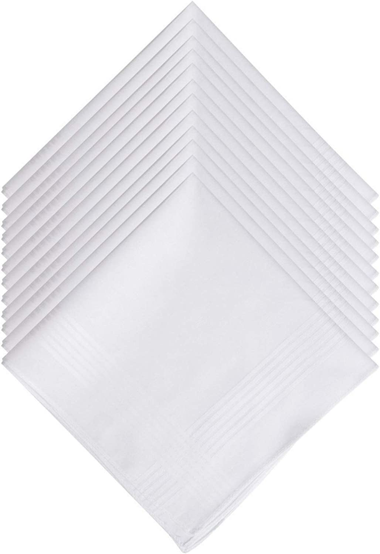 Men's Handkerchiefs, White Hankie, 100% Soft Cotton, Pack of 12 Pieces(15.74x15.74 inch)
