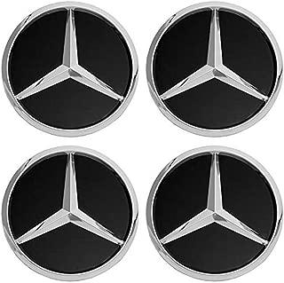 cargooghi 4Pack Mercedes Benz Wheel Center Hub Caps Emblem,75mm Rim Black hubcaps Fit Benz C ML CLS S GL SL E CLK CL GL Center Cap Badge(Black)
