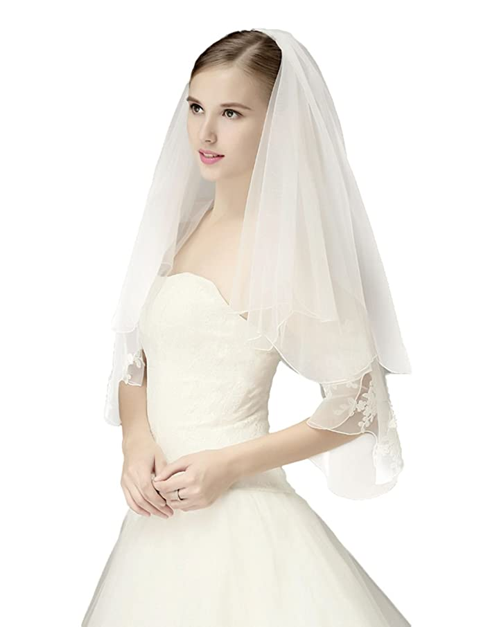 Wedding Bridal Veil with Comb 2 Tier Pencil Scalloped Edge Fingertip Length 34