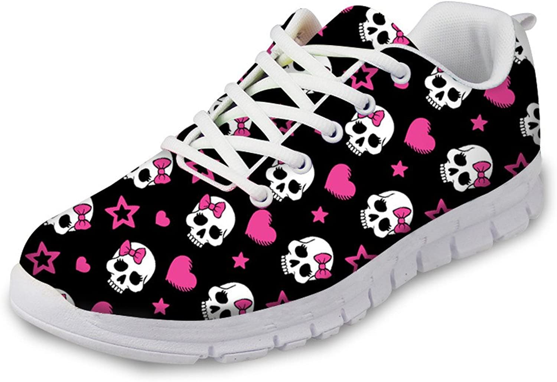 Showudesigns Cool Skull Design Women's Lightweight Sneakers Running Sport shoes