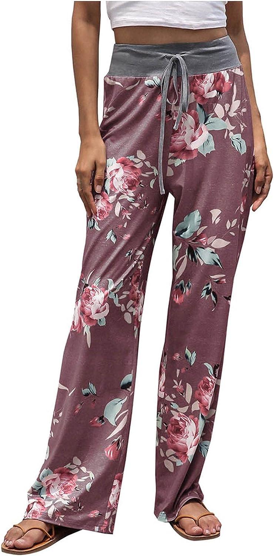MIVAMIYA Womens Loose Comfy Pajama Pants Floral Print Drawstring Casual Palazzo Lounge Pants Wide Leg Long Trouser