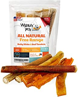 WyldLife Pets Thick Bully Sticks for Dogs - Pack of Bully Stick & Beef Tendons for Dogs Long Lasting Dog Chew Sticks for Dogs USDA & FDA Approved Dog Bully Sticks for Small Dogs & Large Dogs