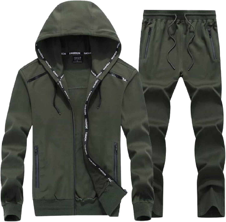 Maweisong Mens Long Sleeve Hoodie Zip Sweatshirt Two Piece Sport Pant Suit Set