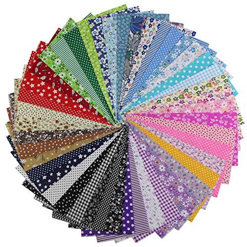 aufodara 45 piezas de tela de algodón por metro, paquete de tela, 25x25 cm, patchwork, telas para coser, tela de algodón puro, tela acolchada, manualidades, tela cuadrada de algodón (Color-45 piezas)