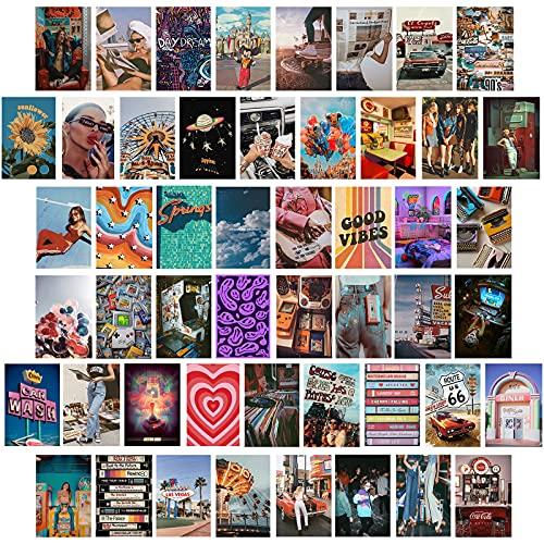 50 stks Retro 80s 90s Muur Collage Kit, Esthetische Foto, 4×6 inch Jongens & Meisjes Slaapkamer Vsco Posters Decor, Muur…