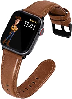 KADES for Apple Watch Band 38mm, Leather Strap for Apple Watch Band 40mm Series 4 Series 5 iWatch Bands 38mm (Brown with Black Hardware)