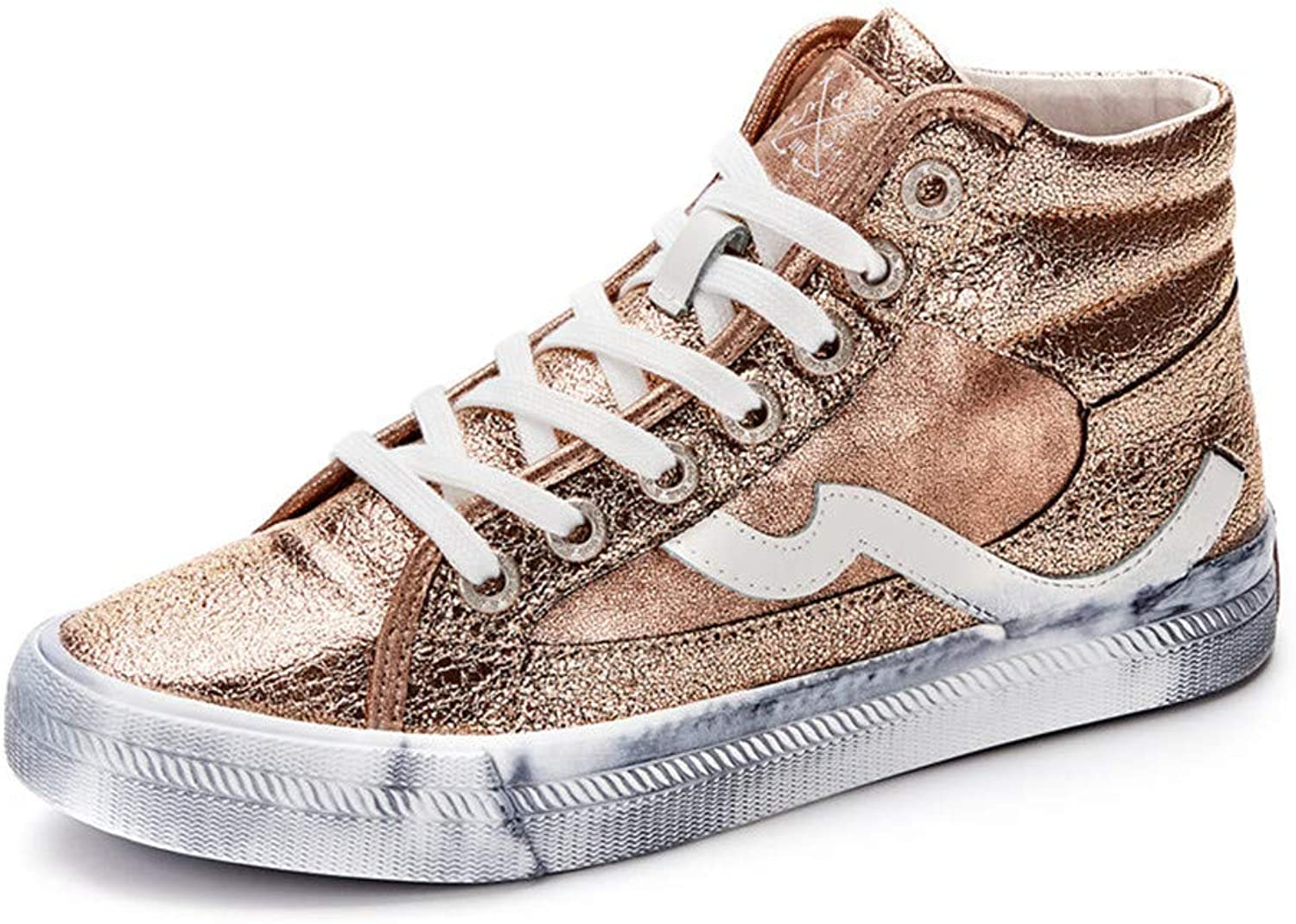 Newnessshop Fashion High Top Sneakers pink gold Canvas Casual shoes Women's Vulcanize shoes Lace Up Flats shoes