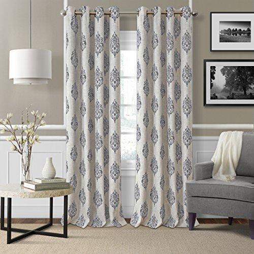 "Elrene Home Fashions Navara Medallion Room Darkening Window Curtain Panel, 52"" x 84"" (1, Gray"