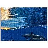 Mini 1000 piezas de rompecabezas para adultos y niños, dos hermosos delfines nadando bajo el agua a través de un arrecife de coral lleno de vida con una agradable ola rompiendo rompecabezas de papel