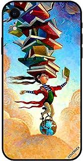 حافظة واقية لجهاز آبل آيفون XR حافظة تغطية فتاة على الكرة الأرضية مع كتب