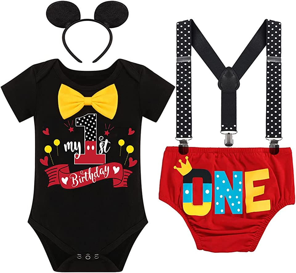 Baby Boys Half 1st Birthday Cake Smash Outfit Bowtie Romper Suspenders Shorts Headband Party Costume for Photo Shoot 6-18M