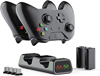 Xbox One Controller Charger Station with 2X 1200mAh Rechargeable Battery Pack, ElecGear Dual Charging Dock Stand for Xbox ...