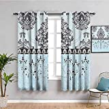 Window Curtains Eyelet Thermal - Blue Flowers Retro Classic - 3D Print Bedroom Darkening Curtains For Living Room 280X175Cm