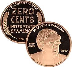 Aizics Mint Elizabeth Warren | Zero Cents Penny | Democrat Novelty Coin Token | Copper Plated Large Size 30mm x 2mm | MAGA