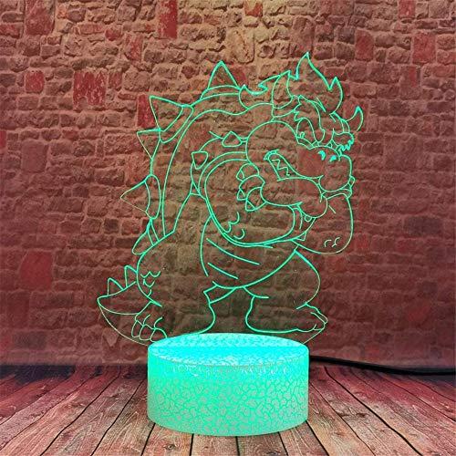 Lámpara de ilusión óptica 3D 3D Luz nocturna Super Mario 16 colores regulable USB Powered Control táctil con control remoto, regalos creativos para niños de 10 años