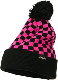 DECKY Checkered Long Cuff Pom Pom Beanie - Hot Pink