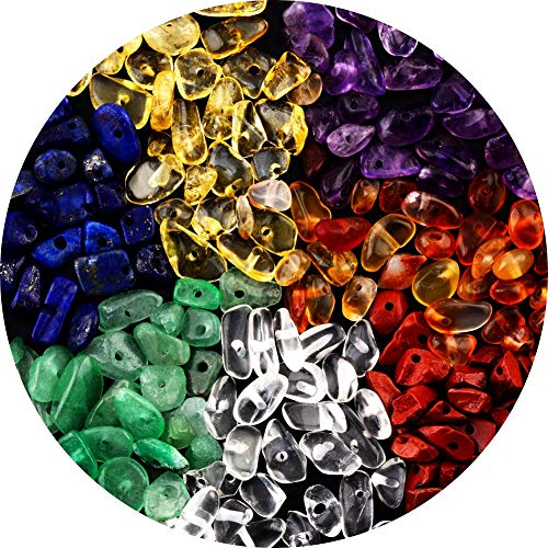 7 Chakra Natural Chip Stone Beads 3-5mm 100g About 500 Pieces Irregular Gemstones Healing Crystal Loose Rocks Bead Hole Drilled DIY for Bracelet Jewelry Making Crafting (3-5mm, 7 Chakra Color Mix)