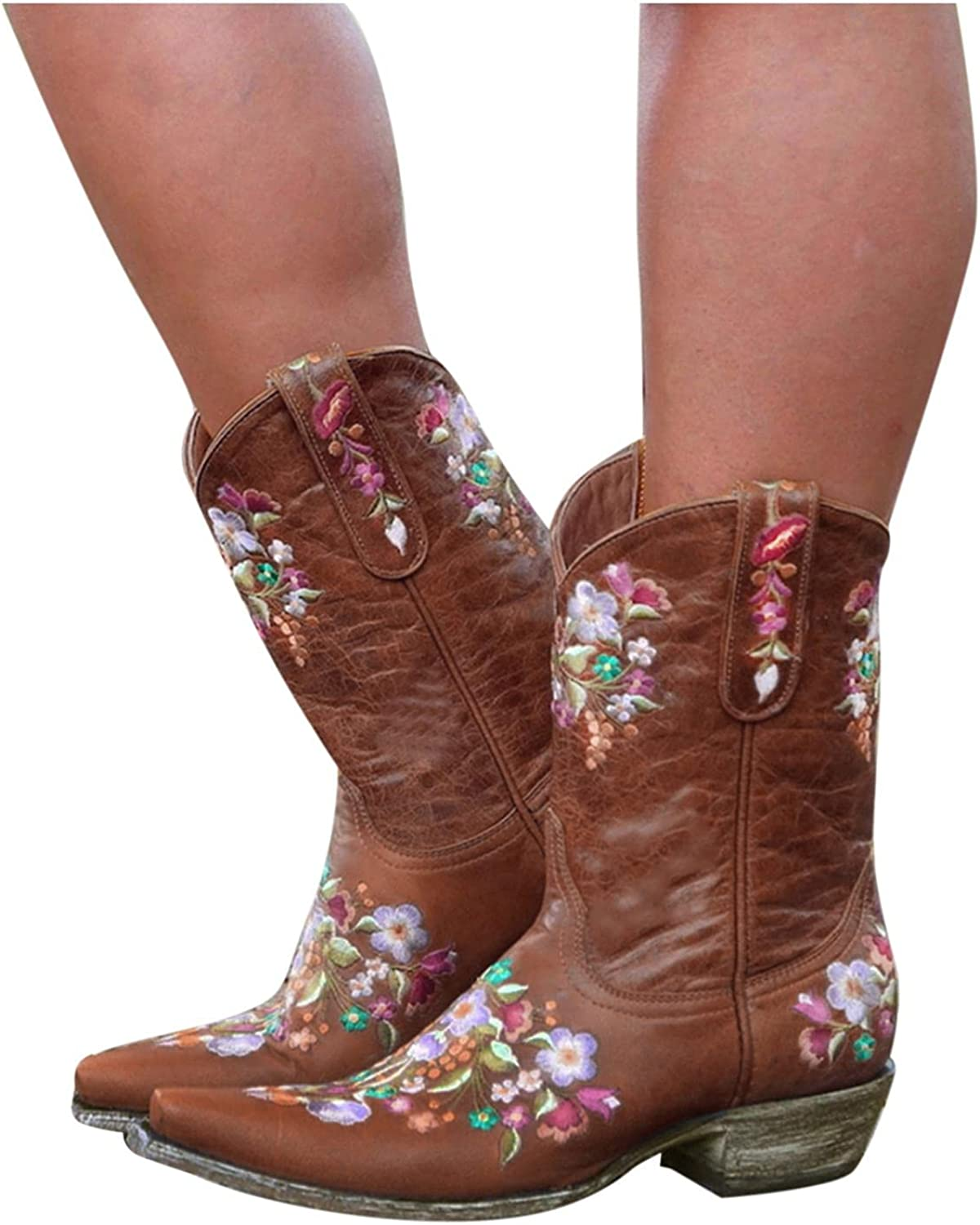 Hbeylia Vintage Ethnic Cowboys Boots For Women Boho Retro Flower Embroidered Pointed Toe Leather Western Cowgirls Boots Bohemian Chunky Mid Heels Wide Mid Calf Booties For Ladies Dress