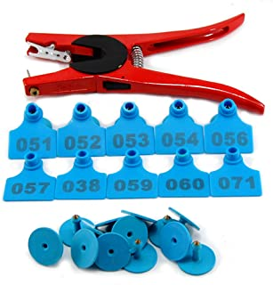 100 Sets Numbered Plastic Livestock Ear Tags for Cattle Pigs Calf Hogs Goat Animal Identification TPU Earring Tagger with 1 pcs Pliers Applicator, Blue